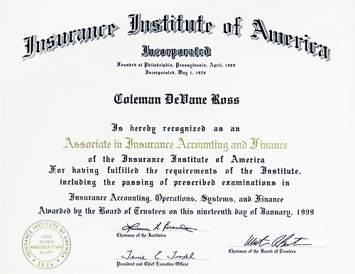 Associate in Insurance Accounting and Finance certificate