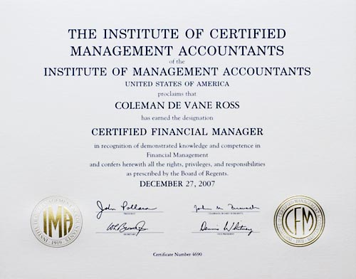 Certified Financial Manager certificate