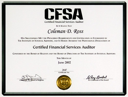 Certified Financial Services Auditor certificate