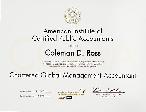 Certified Global Management Accountant certificate