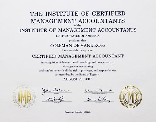 Certified Management Accountant certificate