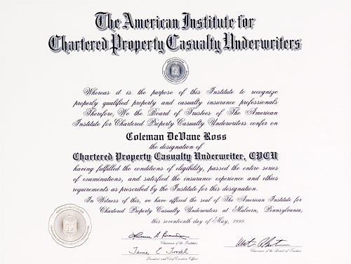 Chartered Property Casualty Underwriter certificate