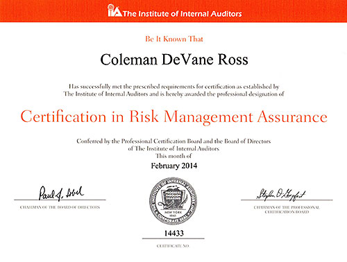 Certification in Risk Management Assurance certificate