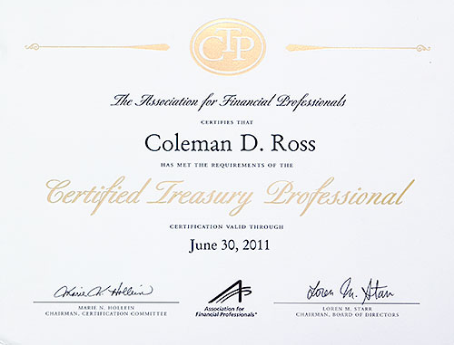 Certified Treasury Professional certificate