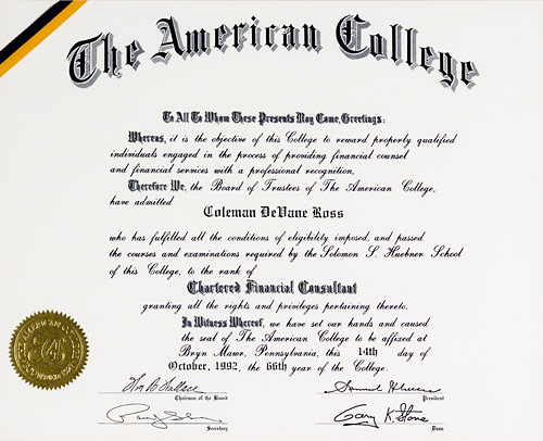 Chartered Financial Consultant certificate