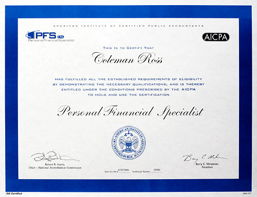 Personal Financial Specialist certificate